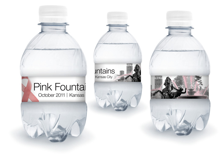 Pink Fountains Water Bottle Packaging Design
