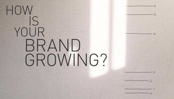 brand personality growth chart on wall