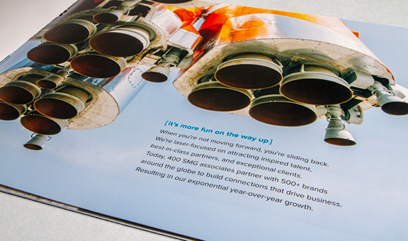SMG brand book print detail